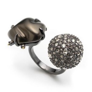NEW Alexis Bittar Pave Ball Pearl Adjustable Ring